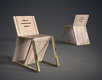 Straight Edge | Wood and Brass Chair - Concept