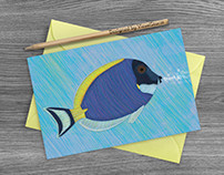 Powder Blue Tang Fish Thank You Card