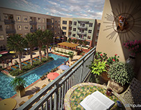 Loft Apartments Balcony Pool View Architectural Illustr