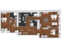 Office floor plan 2D rendering.