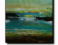 Acrylic on canvas Abstract landscape art for SALE..