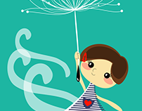 Card Flying little girl dandelion
