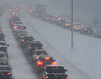 A blizzard creating traffic