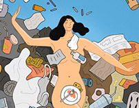 How to reduce your plastic waste. Editorial llustration
