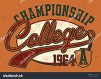 College graphic tees design vector art