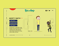 Rick & Morty Landing Screens Adobe XD