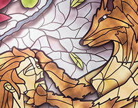 Animal Dream Stained Glass Illustration