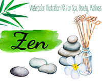 Bamboo Zen & Spa Watercolor Clipart