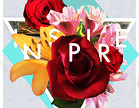 'Inspire' Floral Digital Collage