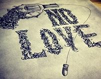 """'No Love: Stop Gun Violence"""" Letterpress print"""