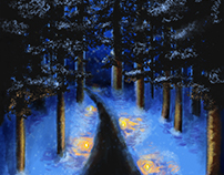 Candlelight Walk Painting and Poster
