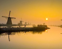 Kinderdijk at Dawn