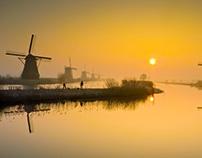 Kinderdijk at Dawn