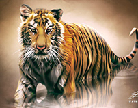 """""""Digital Tiger"""" Digital Oil Painting by Wayne Flint"""