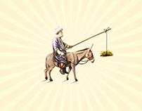 Nasreddin on a donkey