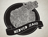 Logotype for bodybuilding clothing store Medved Jeans