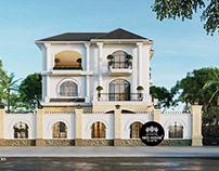 Mẫu thiết kế biệt thự tân cổ điển đẹp 3 tầng 13x16m