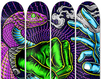 Cosmic Battle: 12 Skate Deck Installation