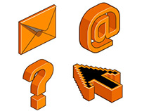 Isometric Icon Designs for Orange