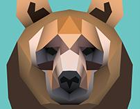 polygonal scary bear