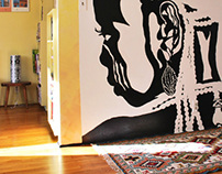 Interior Mural Design, Headstrong Stencil, Sept 2008