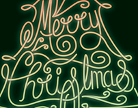 Merry Christmas Tree Neon