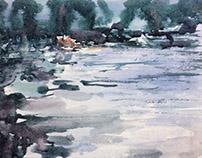 """Lake"" paper watercolor 20x30"