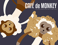 Cafe de Monkey Character and Postcard