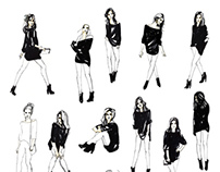 Fashion sketches and pattern