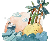 Crocodile Island - Watercolour Illustration