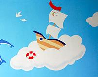 Роспись стены в детском саду / Mural in kindergarten