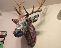 cardboard Deer sculpture by Tefi