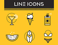 Line Icons with textures