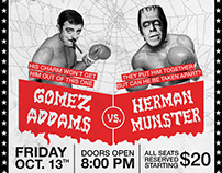 GOMEZ ADDAMS x HERMAN MUNSTER BOXING POSTER