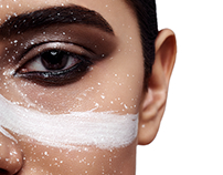 Beauty Woman's Face with white Paint Strip and Splashes