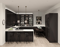 CGI - Dark Stained Oak Kitchen for Pied-à-terre