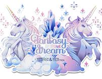 Fantasy dream - unicorns and crystals