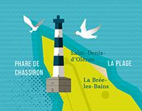 Île d'Oléron. Illustrated map