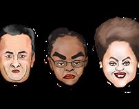 Caricatura Aécio Neves, Marina Silva e Dilma Roussef