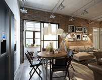Loft in the interior. Living-Dining Room.(2014)