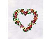 HEART SHAPE FLOWERS EMBROIDERY DESIGN