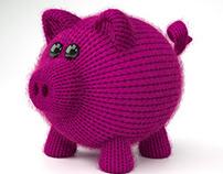 Little knitted pig - 3D