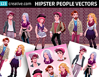Hipster character vectors Hipster boy and girl fashion