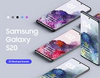 Samsung Galaxy S20 - 20 Mockups Scenes - PSD