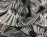 Silkscreen Fractal Cityscape Fabric