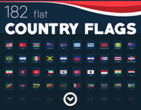 182 Flags of all countries - Flat