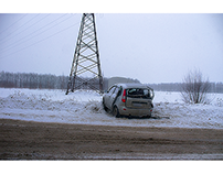 Car accident on the road in Novocheboksarsk, Russia