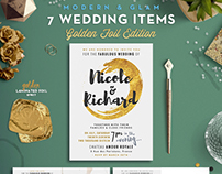 Golden Foil Wedding Invitation Suite