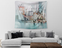 Free Tapestry Mockup