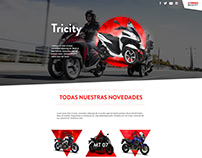 Upcoming motorcylces microsite for Incolmotos Yamaha